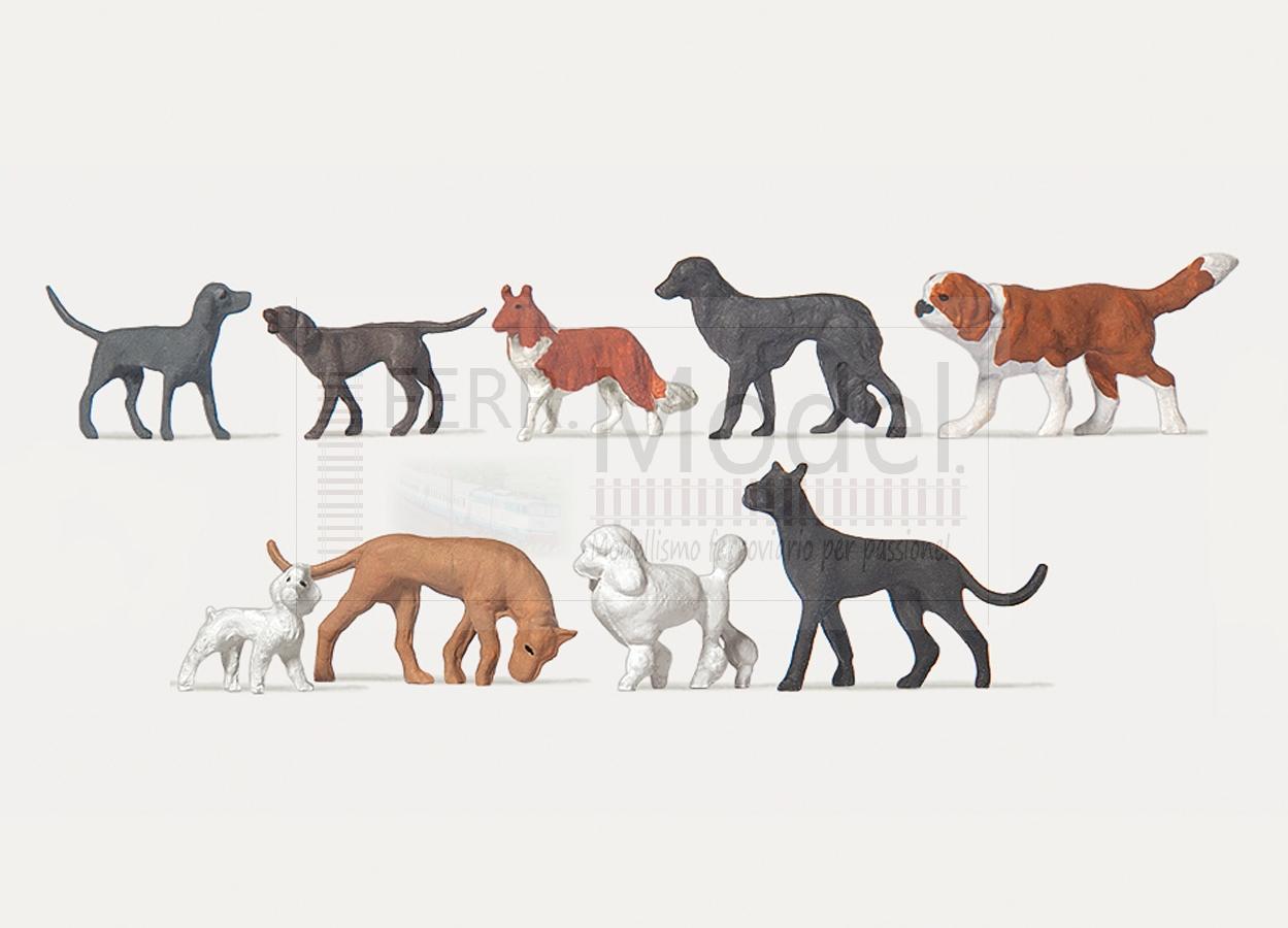 Scala H0 1:87 Set 9 cani assortiti come in foto PREISER MERTEN 2466